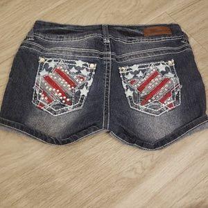 Wallflower Patriotic Studded Jean Shorts